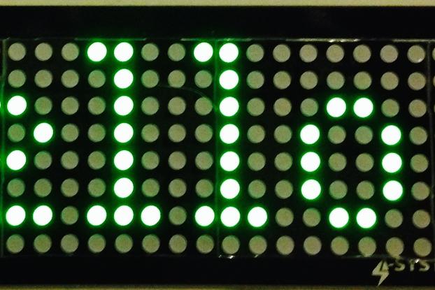 Green 32x8 LED matrix display board, 5mm dot size, 7.62mm dot pitch