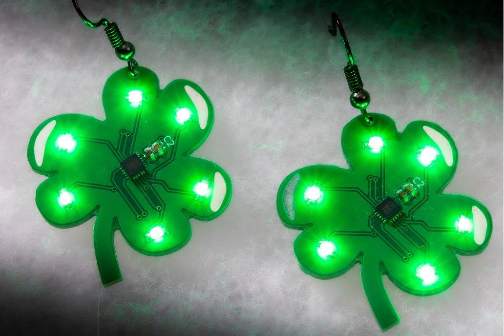 Shamrock LED earrings (pair) - Saint Patrick's Day 1