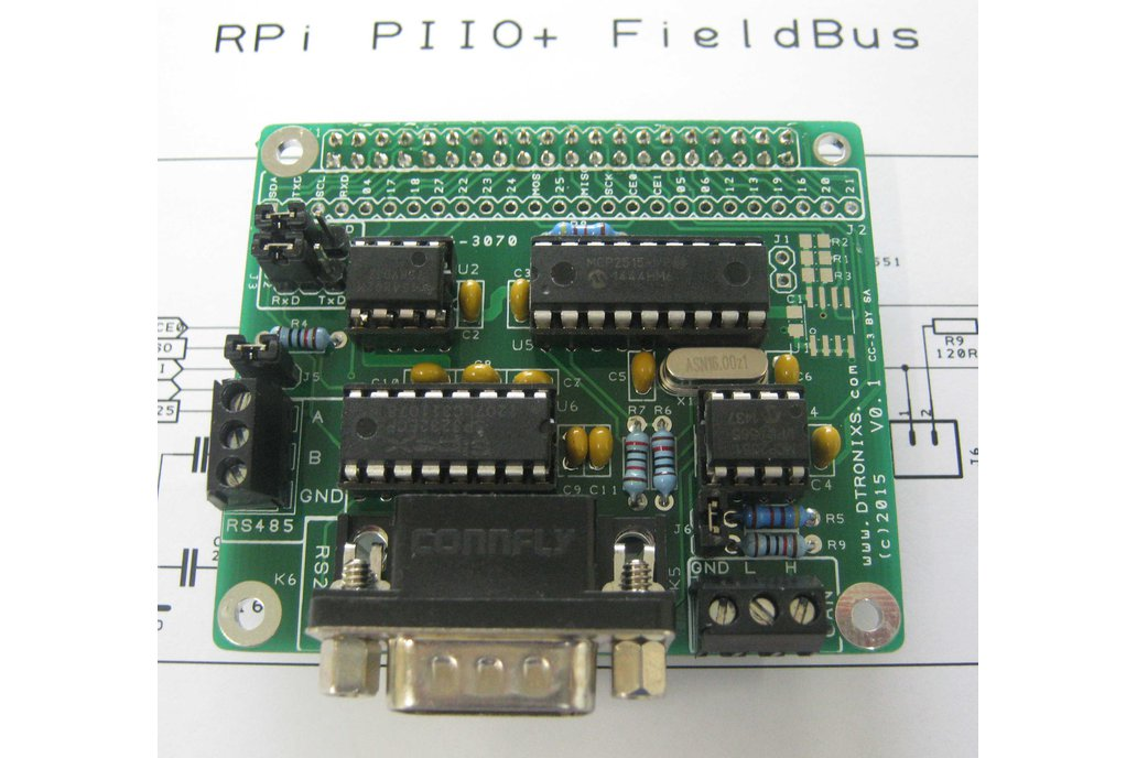 Raspberry PIIO - FieldBus CAN/RS232/RS485 board 1
