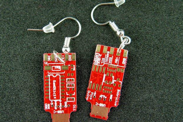 USB-C earrings, red / gold