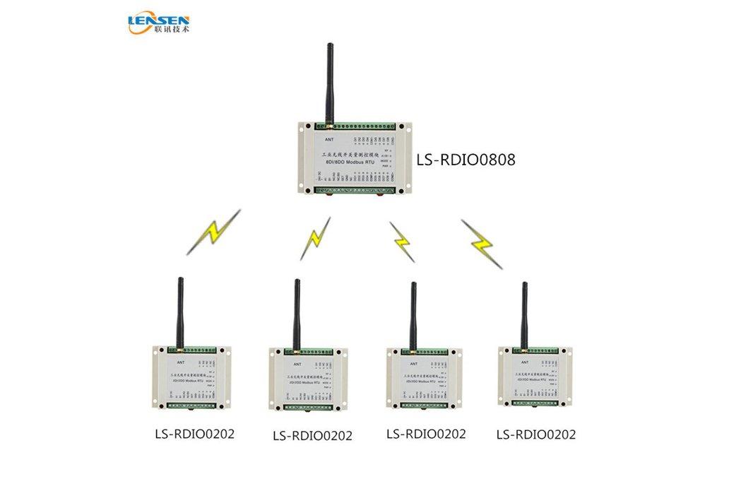 PLC Wireless Link 1 master 8DIO 4 slaves 2DIO 1