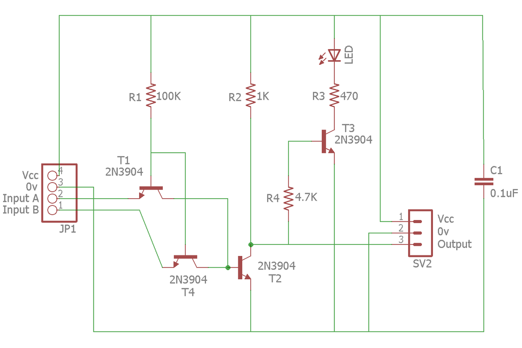 Half-Adder Built from Transistor/NAND Gates on