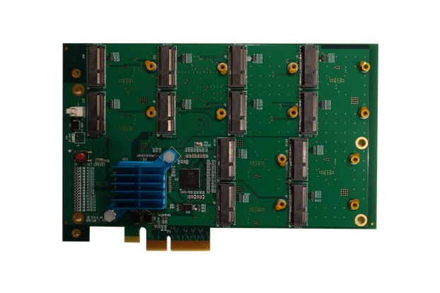 PCI Express Carrier Board for x12 M.2 Radio Cards