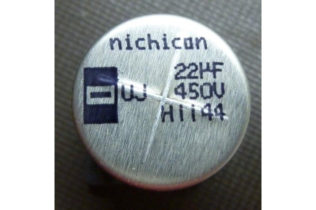 Nichicon 22uF 450V SMD cap P/N UUJ2W220MNQ1MS 1