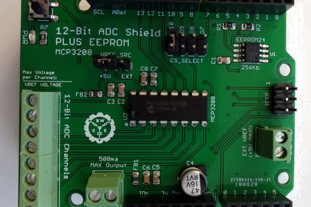 12-Bit/8-Channel ADC Shield + EEPROM for Arduino