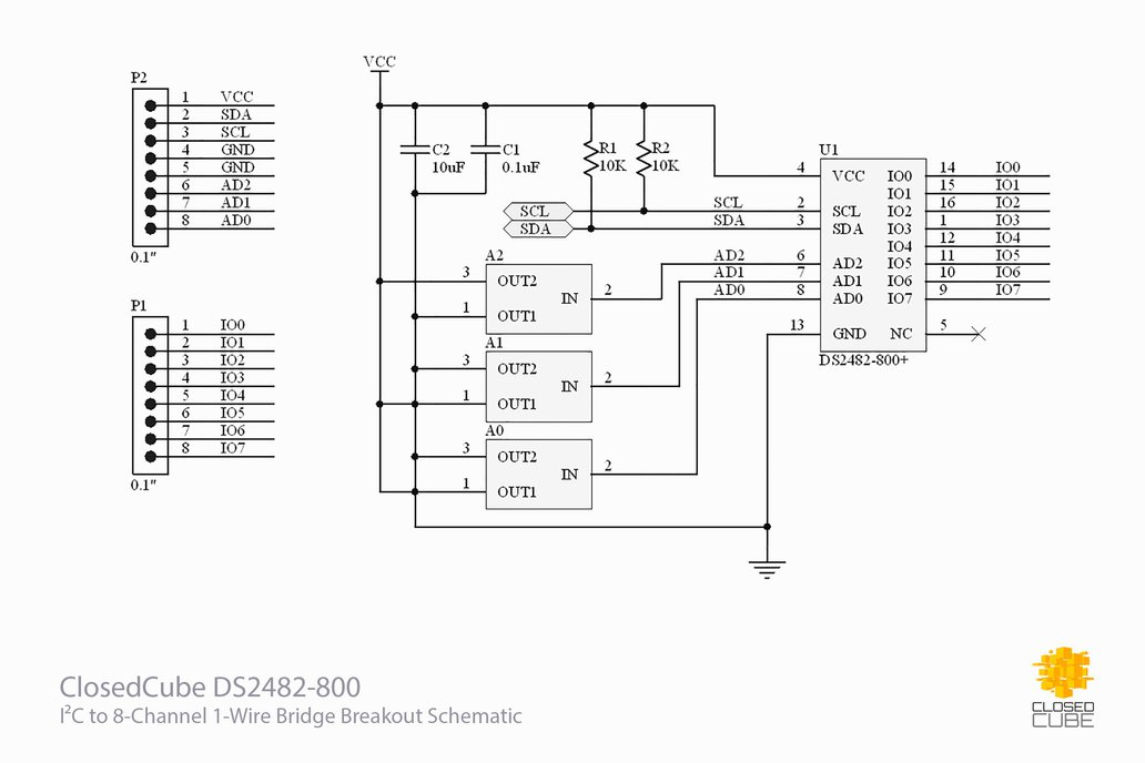DS2482-800+ I2C to 8-Channel 1-Wire Breakout Board 5