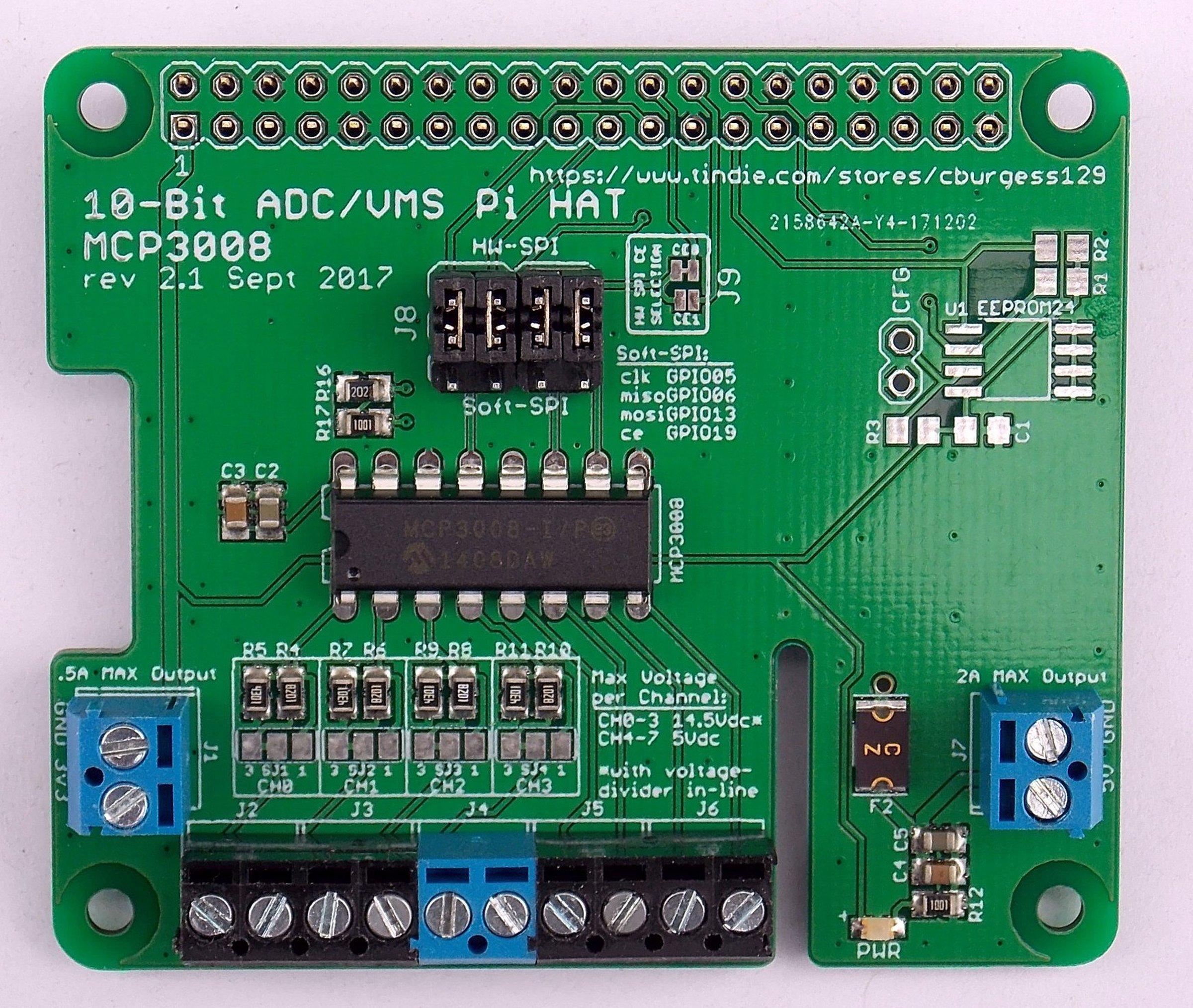 10 Bit Adc Vms Board Hat For Raspberry Pi V21 Potential Divider Circuits Ii Activity V2