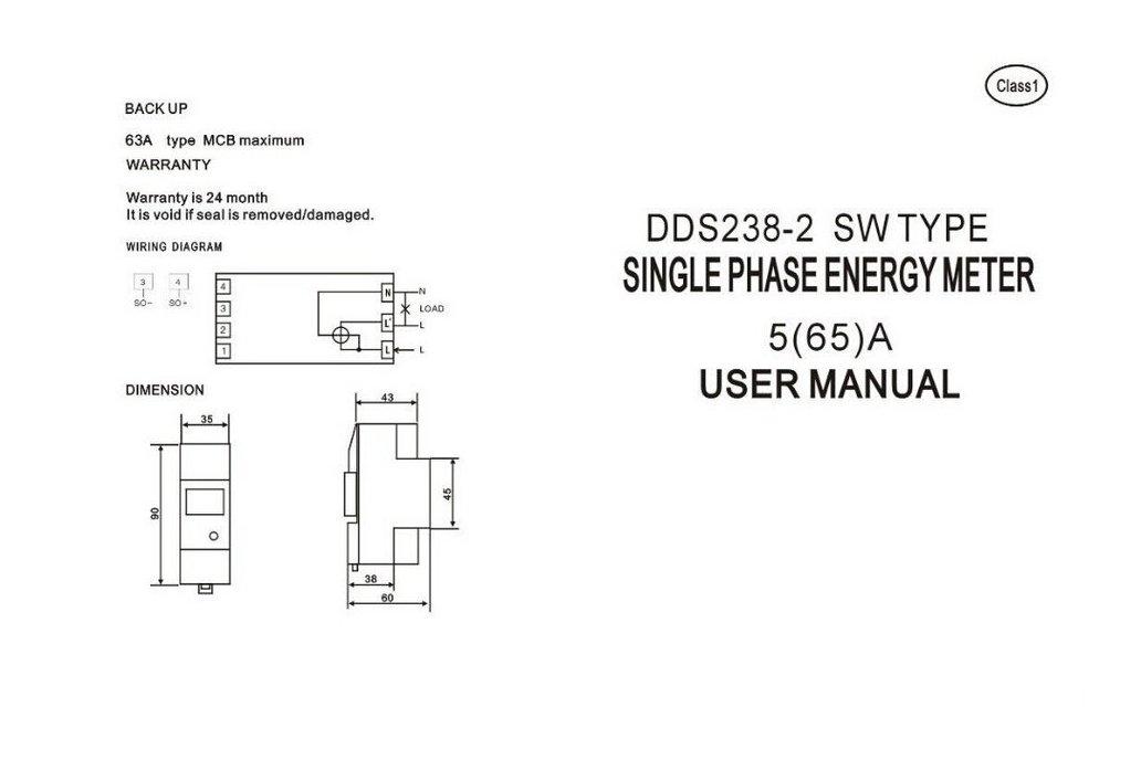5(65)A 230V 50HZ Single Phase Energy Meter on