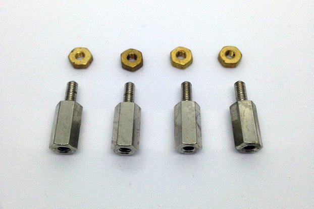 miniMO Brass M2.5 Hex Spacers – Pack of 4