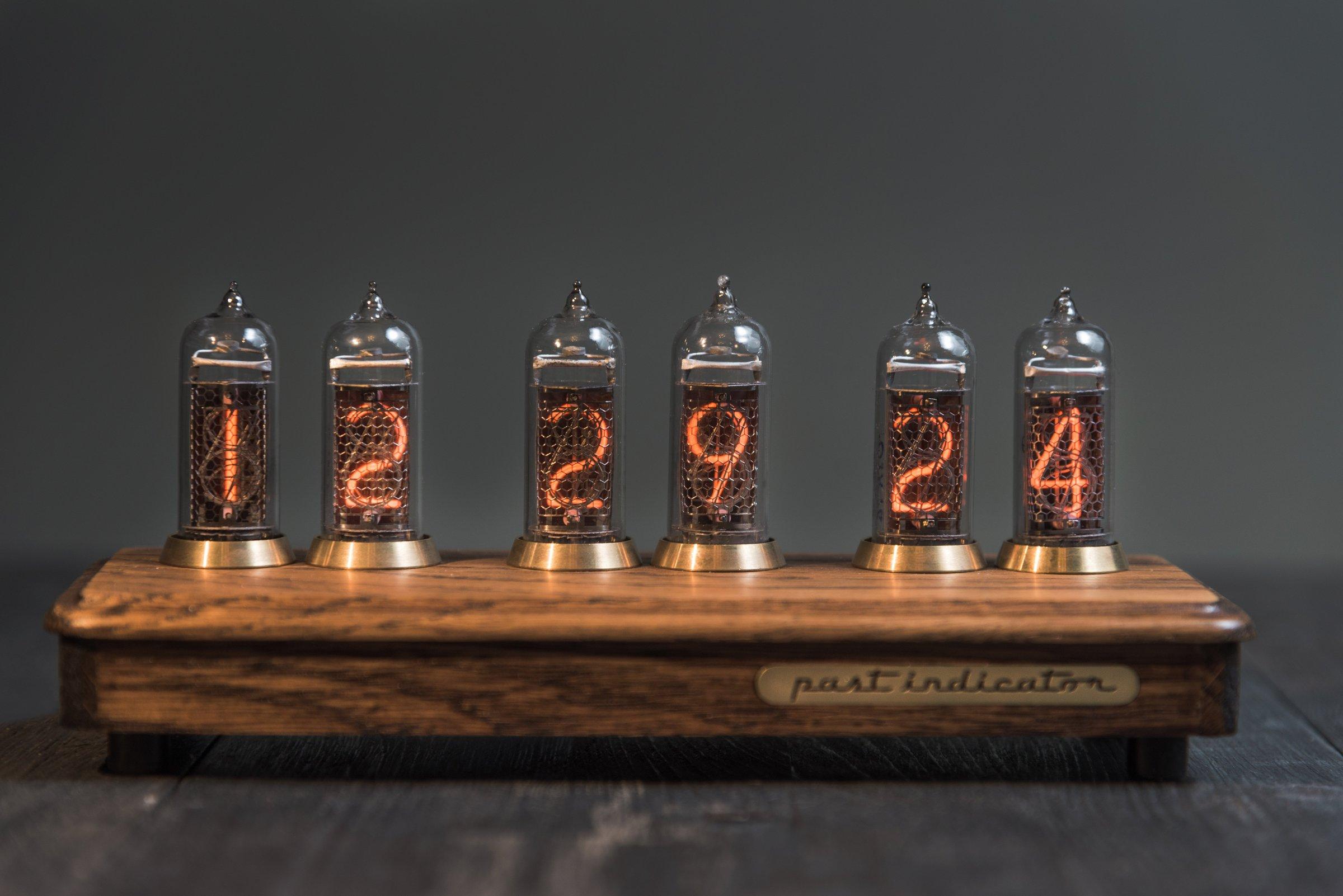 Nixie Tube Clock In Oak And Brass Case 2