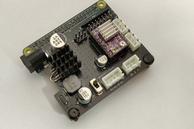 RPi stepper driver HAT with step-down converter
