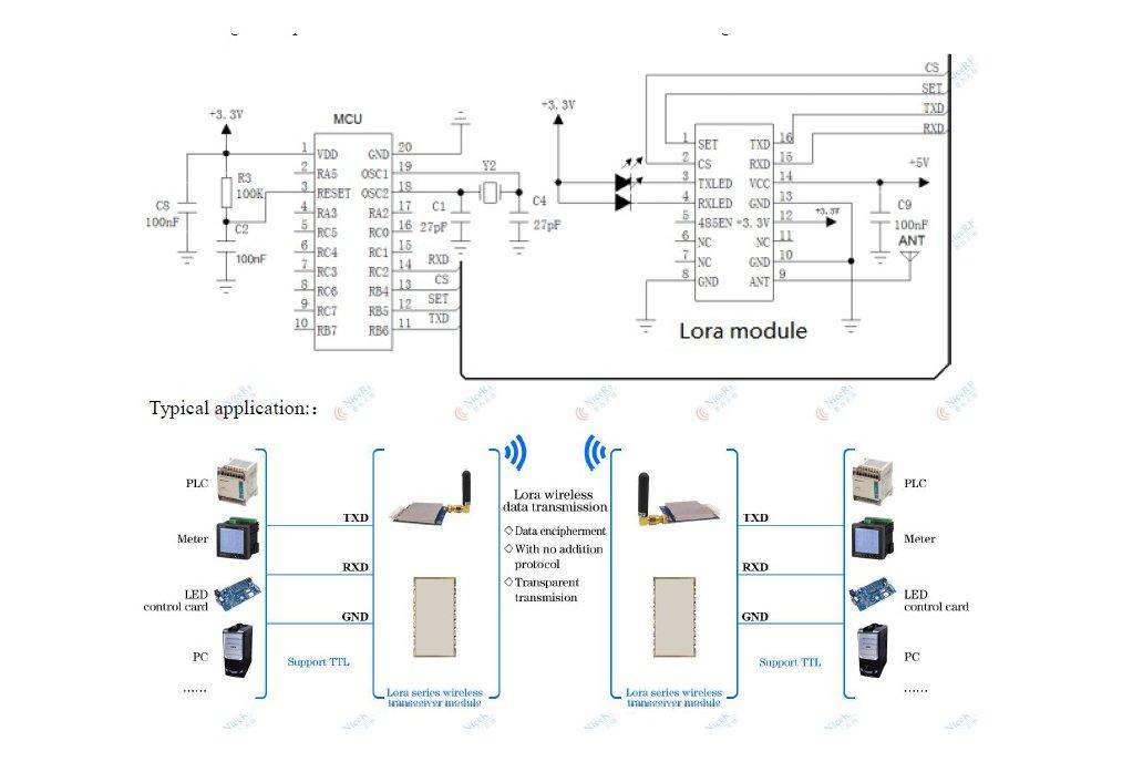 2pcs Lora611 433MHz TTL interface 100mW RF Module  5