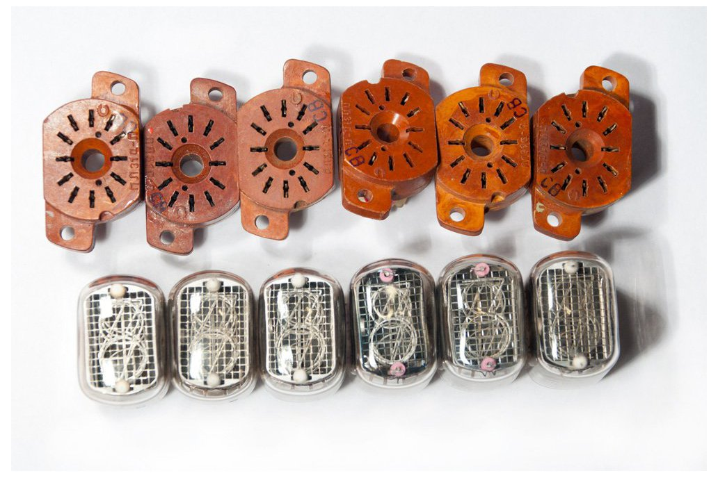 Nixie Tubes IN-12B Set of 6 pcs with 6 sockets 1