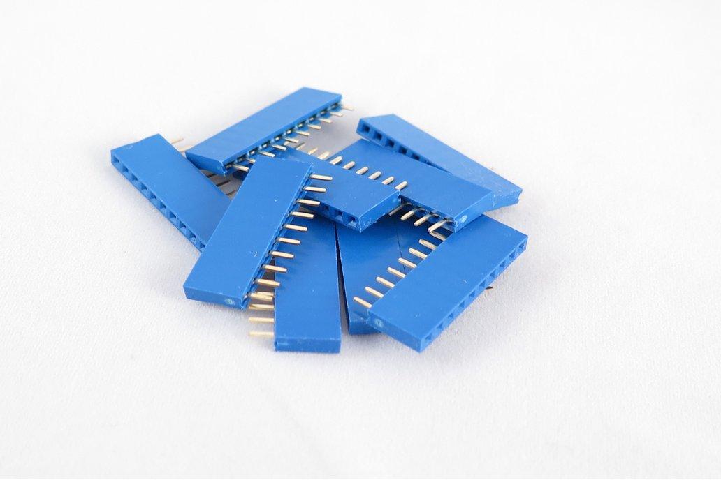 Set of 10 blue female pin headers; 6, 8,10 pin. 1