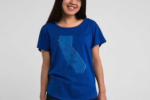 Cali Tech Womens Graphic T-shirt in Blue