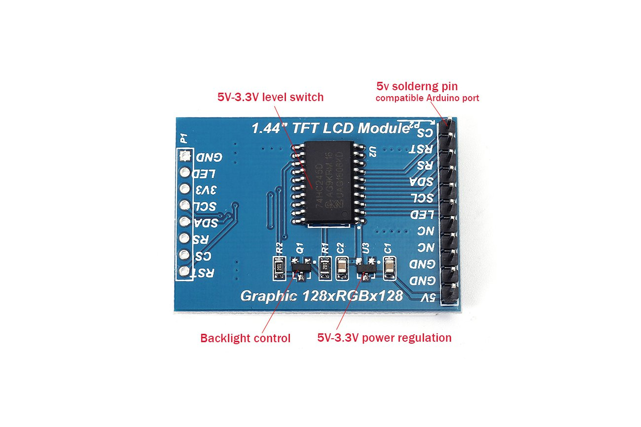 5V TFT 1.44-inch Color LCD for Arduino(8542)