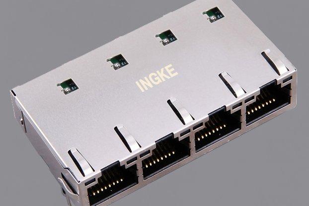 JT6-1473NL 1x4 Ports 10G Base-T RJ45 Magjack