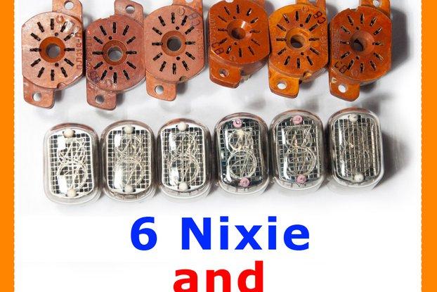 Nixie Clock Tubes IN-12B  set of 6 pcs + 6 sockets