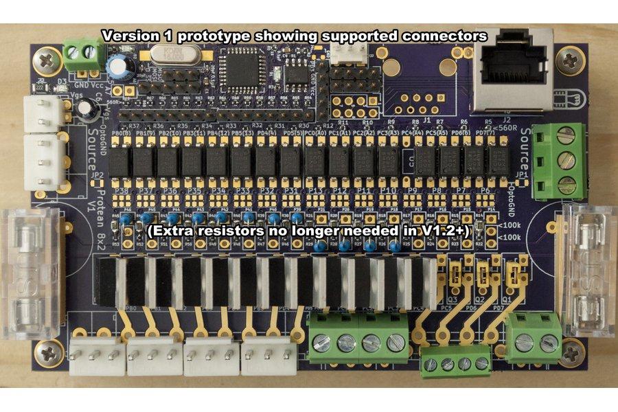 Protean 8x2 V1.2: 16-Ch FET Power Control w/ RS485