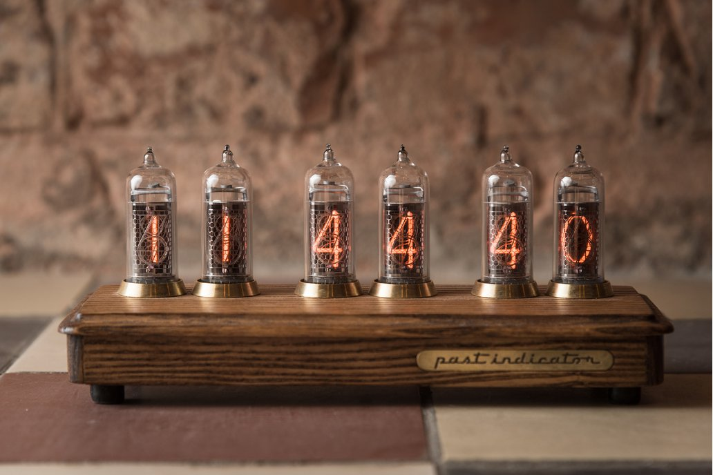Nixie tube clock in ash and brass case 1