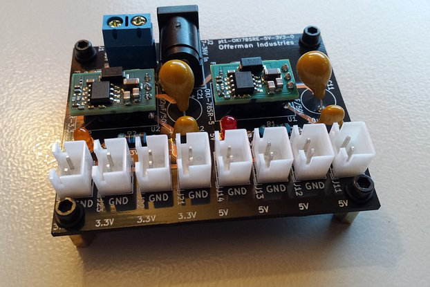 3.3V & 5V DC-DC power supply, 7-36V in, 2x1.5A out