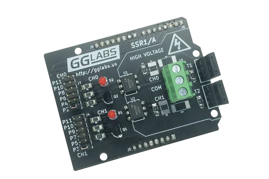 SSR1/A - Dual AC Solid State Relay Arduino Shield 1