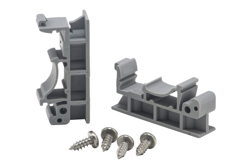 DIN rail mounting clips and screws 1
