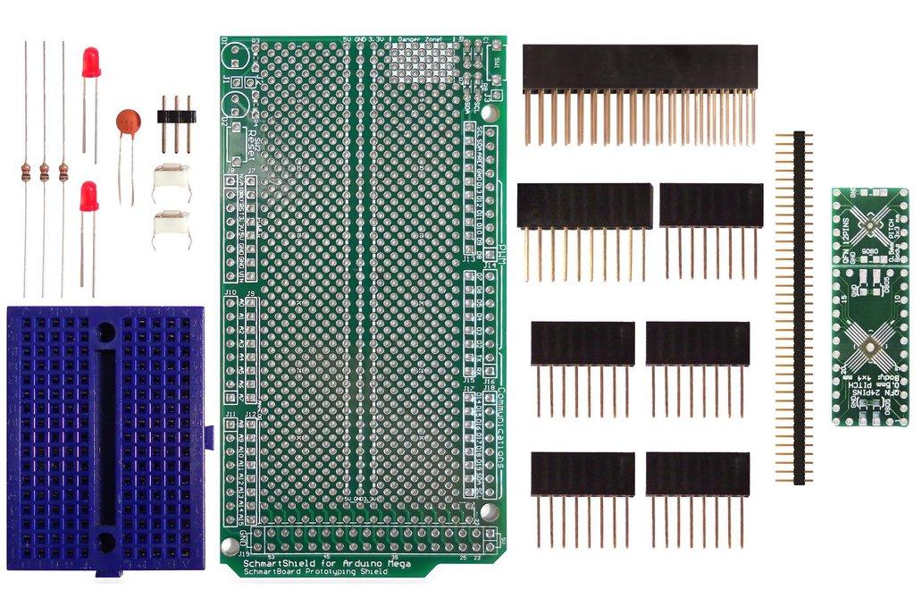SchmartBoard|ez .5mm Pitch, 12 & 24 Pin QFP/QFN Arduino Mega Shield Kit 1