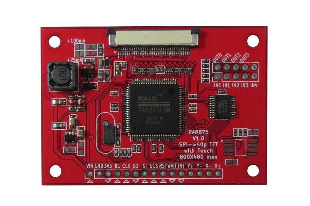 RA8875 Driver Board for 40-pin TFT Touch Displays 1