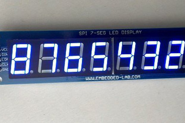 "Serial 8-digit 7-segment LED display (Blue, 0.56"")"