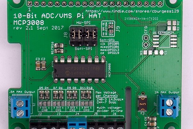 10-Bit ADC/VMS Board (HAT) for Raspberry Pi (v2.1)