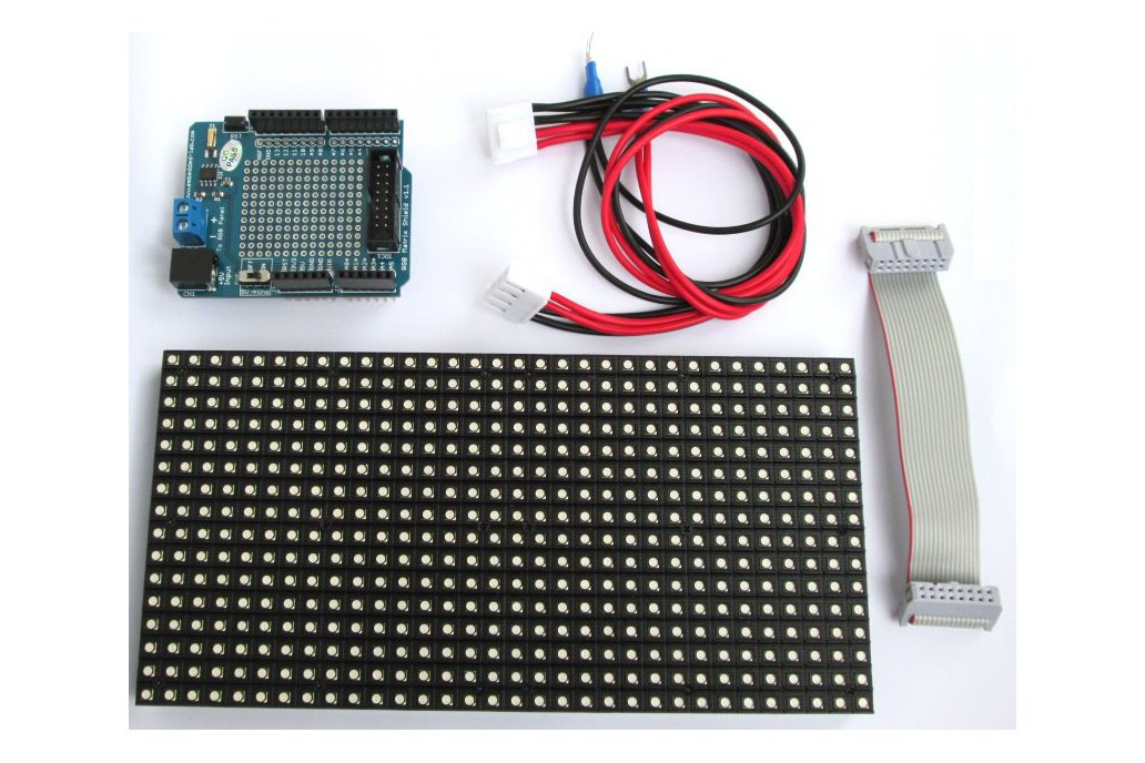 16x32 RGB Matrix panel with an Arduino Uno  shield 1