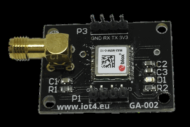 GA-002 MAX-M8 based GNSS receiver dev board