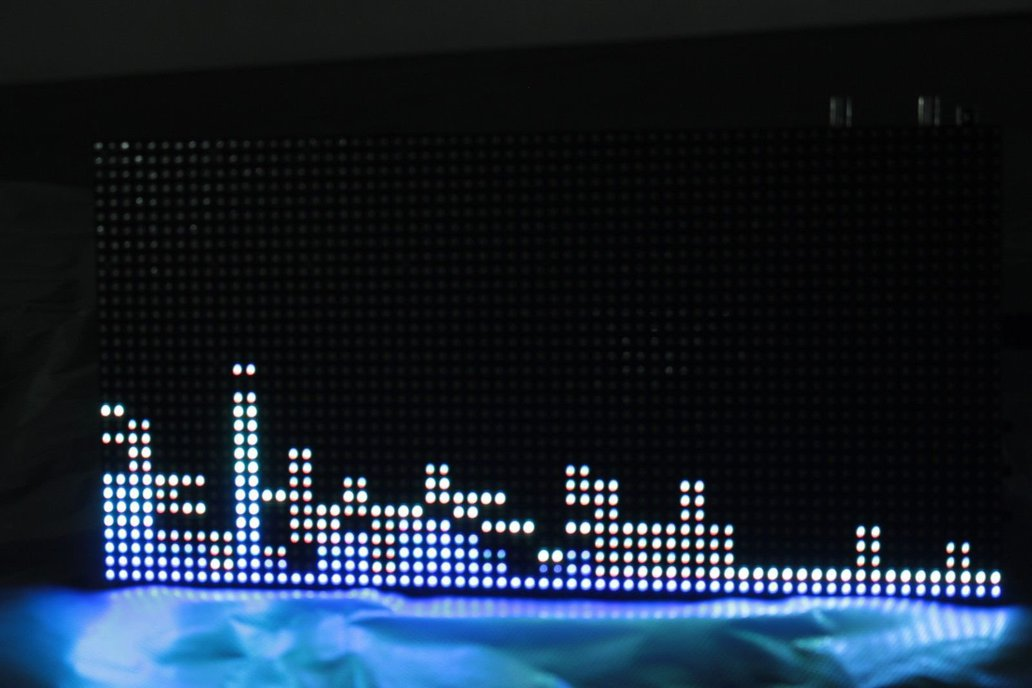 32*64 RGB LED Display Music Spectrum and Clock 1