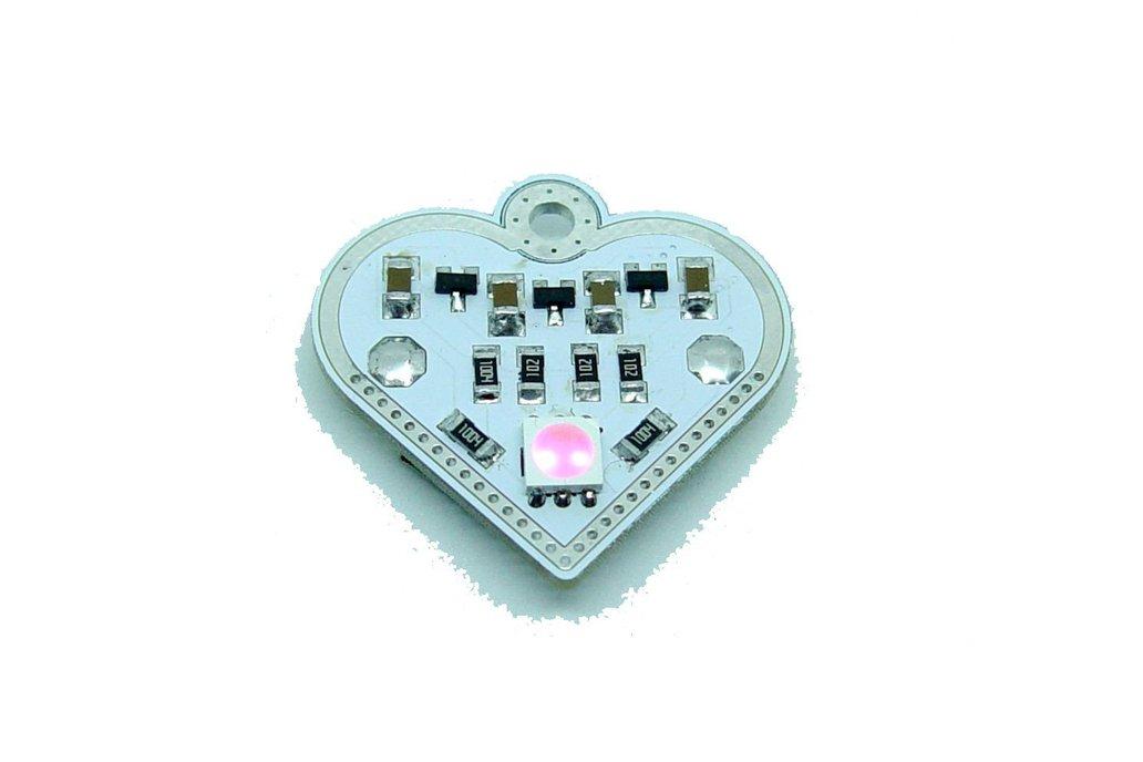 Pink blink Valentine heart - LED learn solder KIT 1