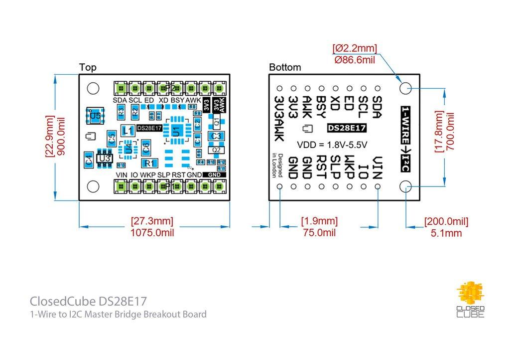 DS28E17 1-Wire to I2C Master Bridge Breakout Board 3