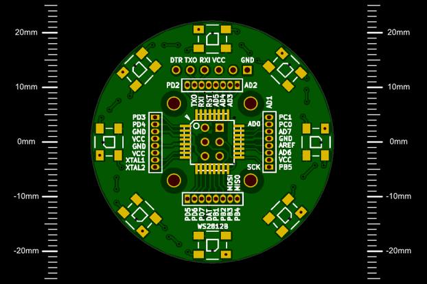 Circular WS2812B + ATmega168 / 328 breakout board