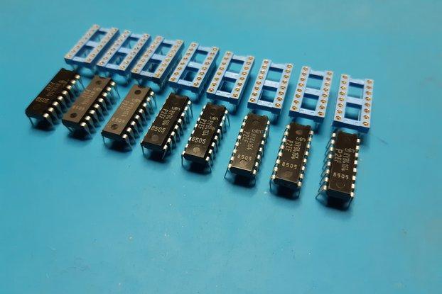 Ram kit 8x 4164 with socket AUGAT prof. Commodore