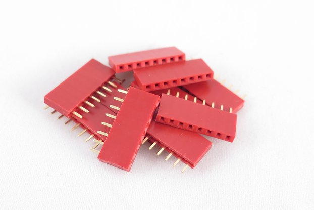 Set of 10 red female pin headers, 8 pins