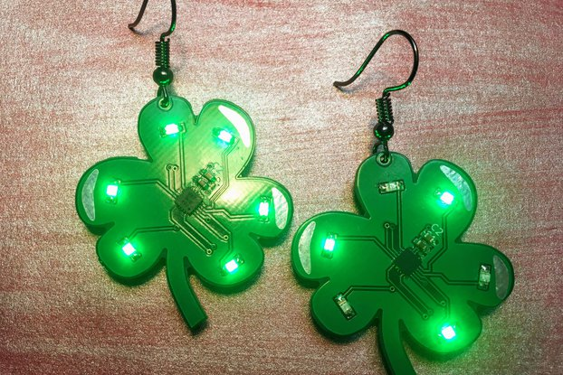 Shamrock LED earrings (pair) - Saint Patrick's Day