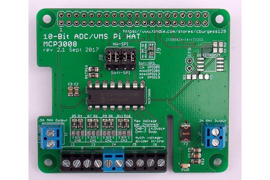10-Bit ADC/VMS Board (HAT) for Raspberry Pi (v2.1) 1