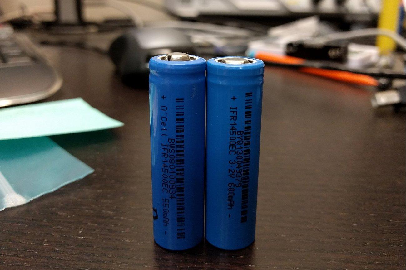 550-600 mAh LiFePO4 AA 14500 cell (3.2V)