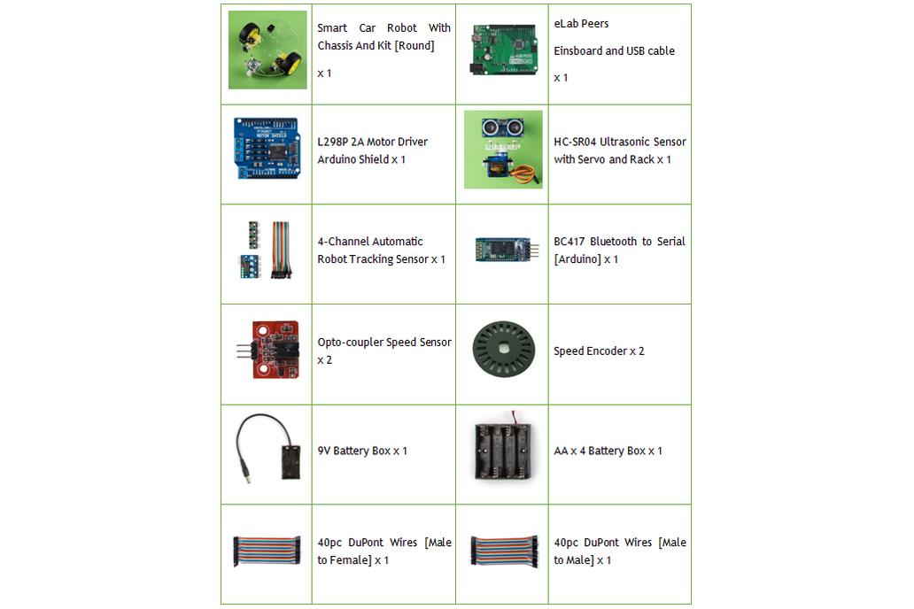 Arduino Starter Kit eBOT Z Smart Car Robot Chassis 7