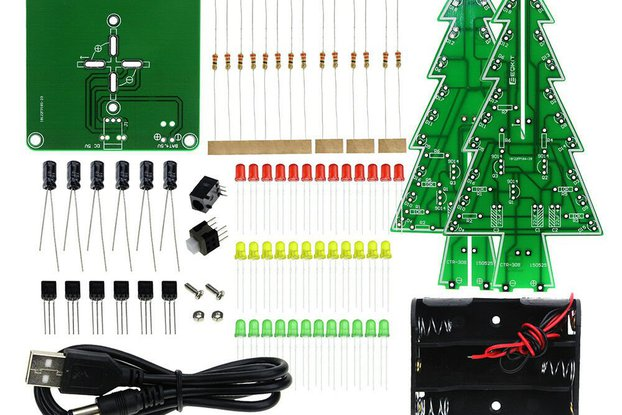DIY 3D LED Flashing Christmas Tree Circuit Kit Gli