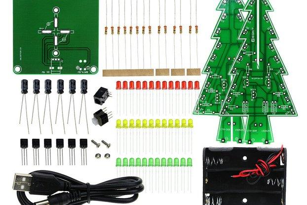 DIY 3D LED Flashing Christmas Tree Circuit Kit Gli