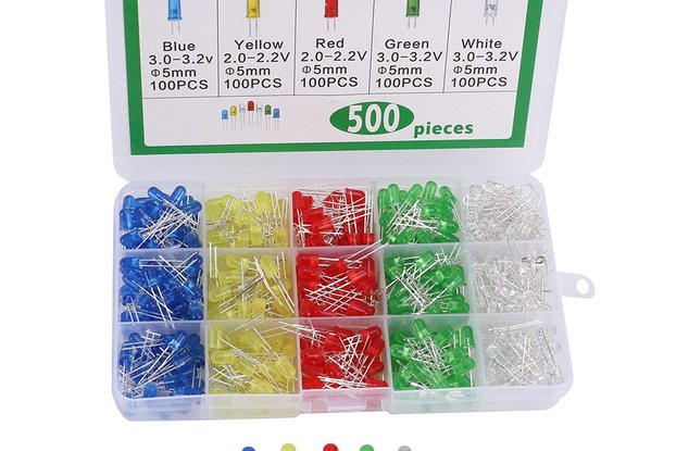 500pcs 5mm White Green Blue Red Yellow LED Kits