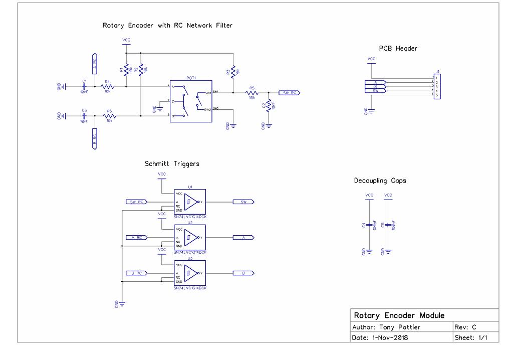 Hardware Debounced Rotary Encoder Module