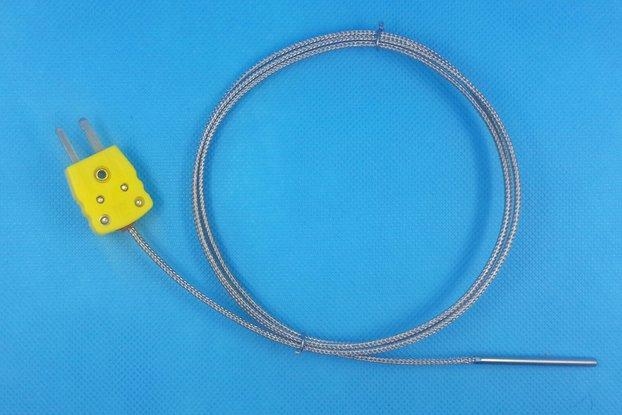 K-Type Thermocouple Probe, Metal Head, 100cm