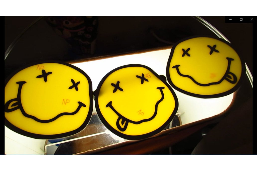 "3xPCB art work design Emoji smile 10cm 4"" diameter 1"