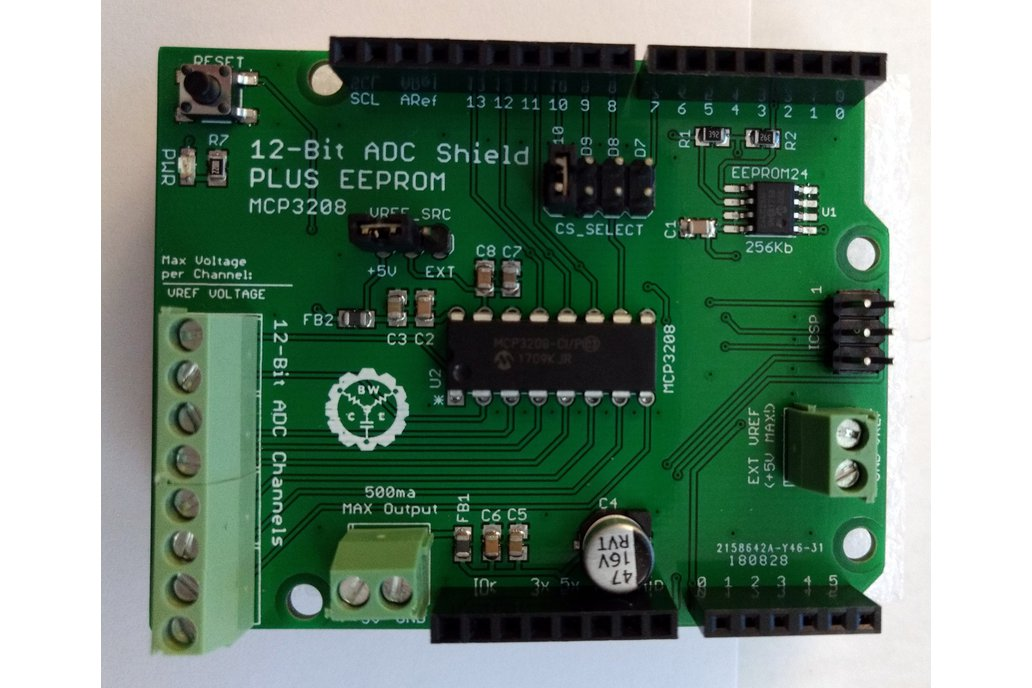 12-Bit/8-Channel ADC Shield + EEPROM for Arduino 1